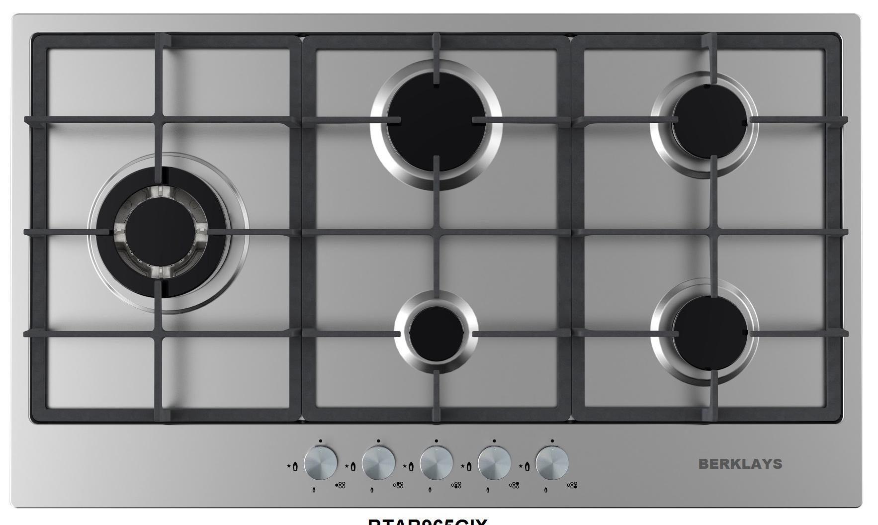 plaque encastrables 5 feux au gaz 90cm inox berklays. Black Bedroom Furniture Sets. Home Design Ideas
